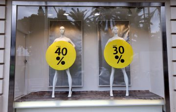 A view of sale signs during the annual winter sales, in Nice, southeastern France. (Valery Hache/Getty Images)