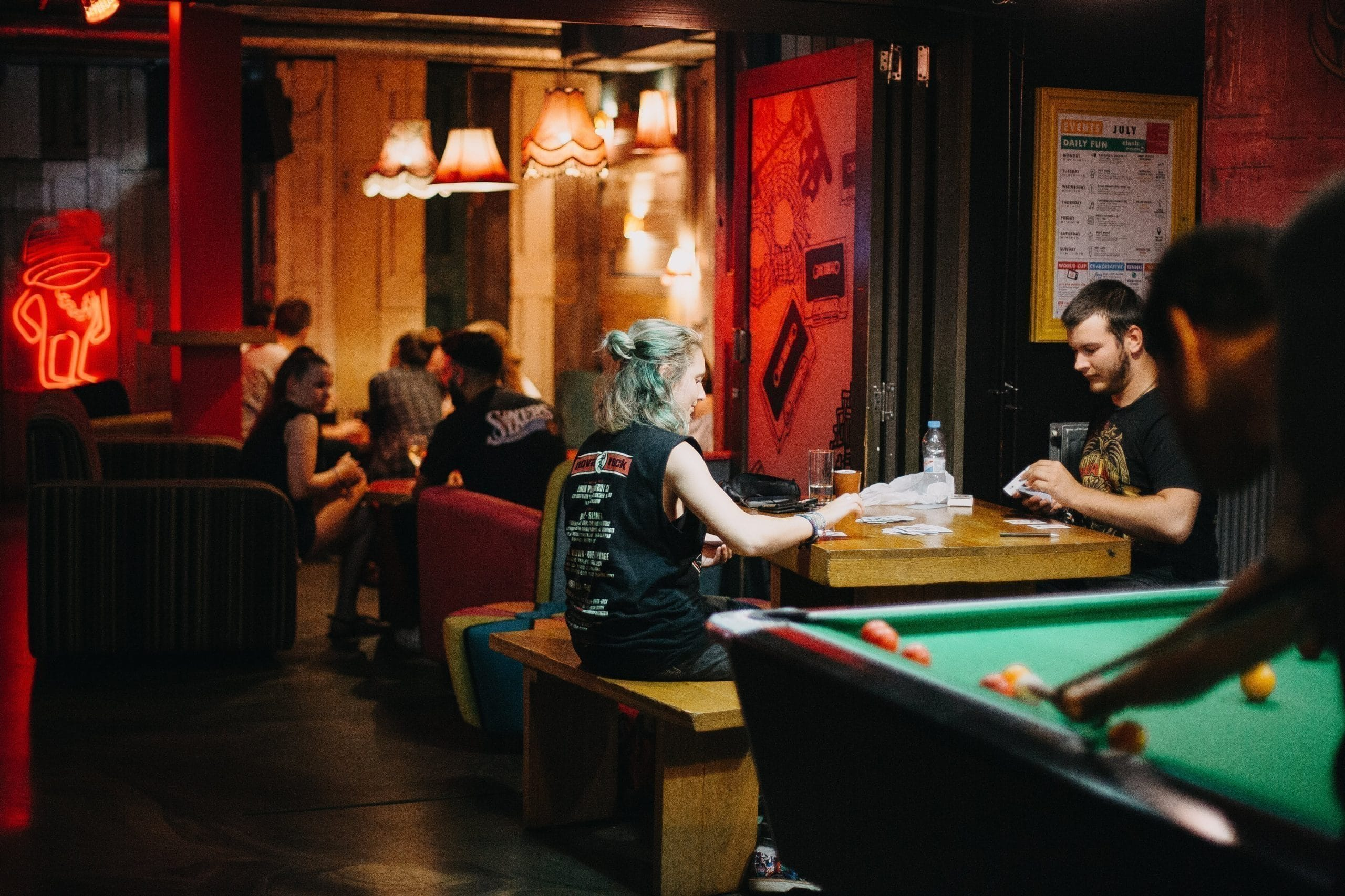 Young people sitting and relaxing in a bar