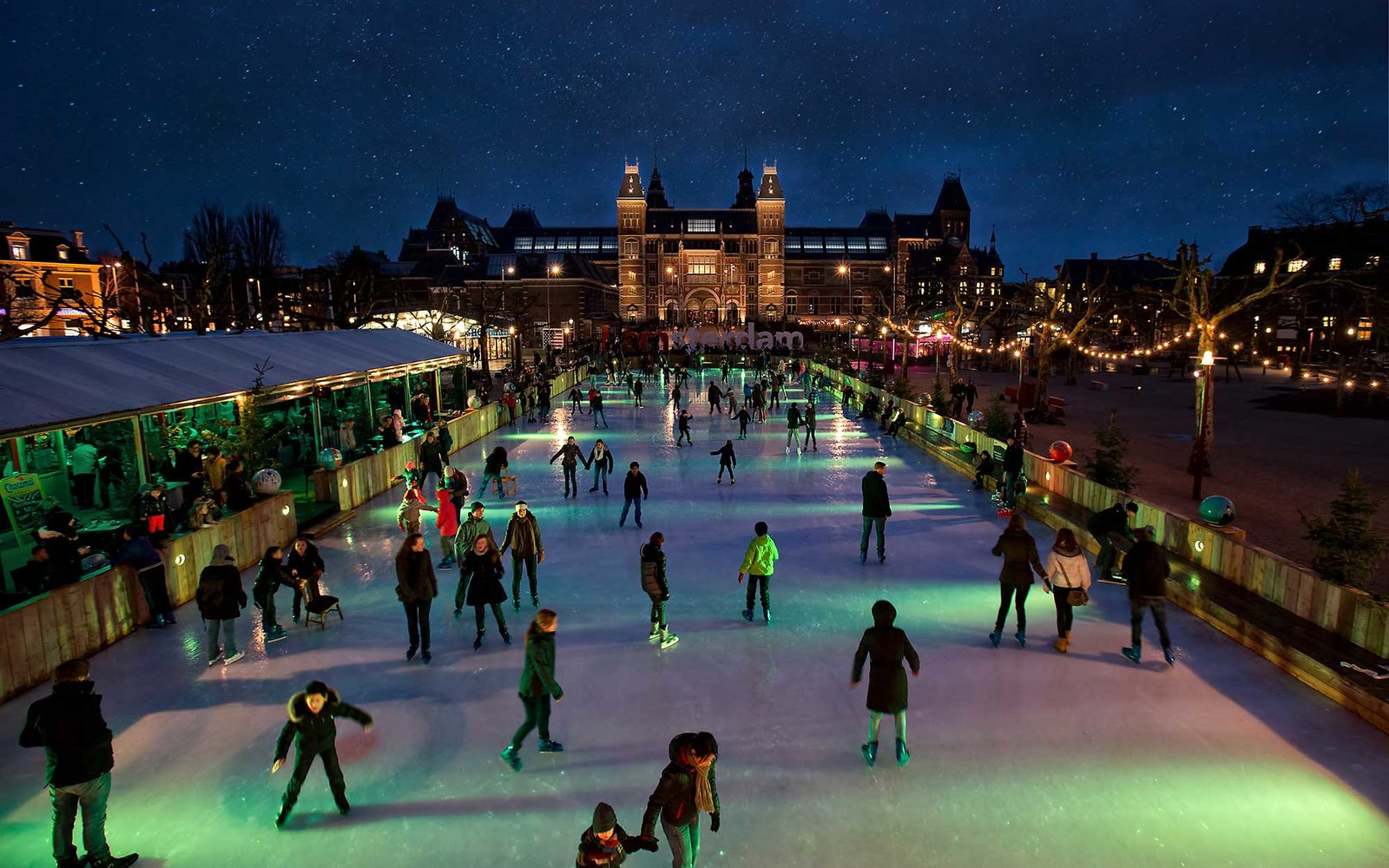 Amsterdam Ice rink what to do for Christmas in Amsterdam Clink Hostels